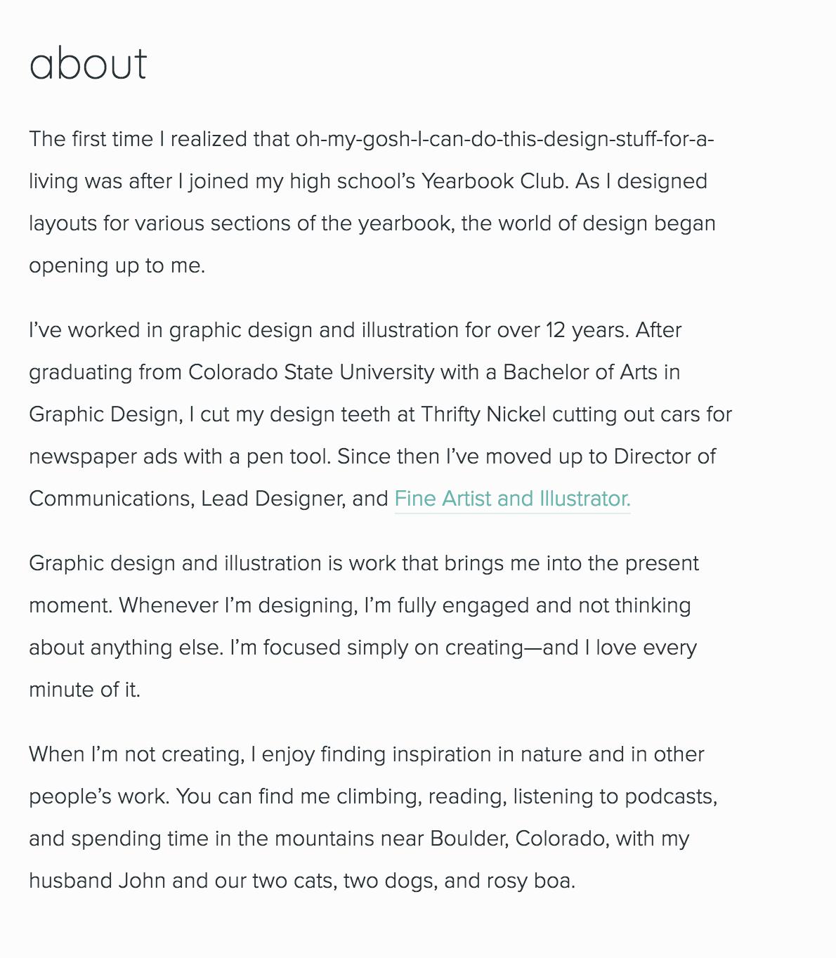 Bloom Design & Illustration About page
