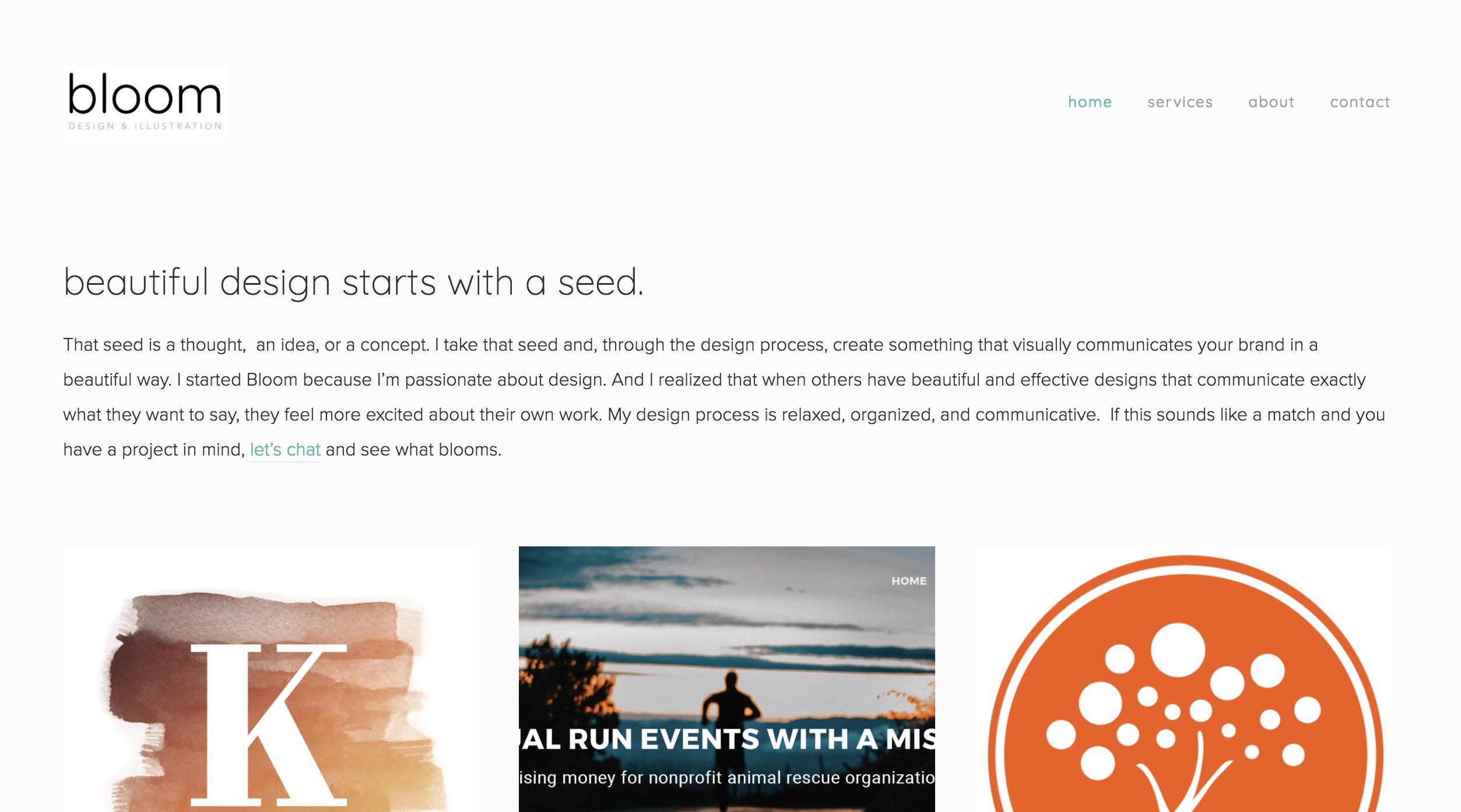 Bloom Design & Illustration homepage