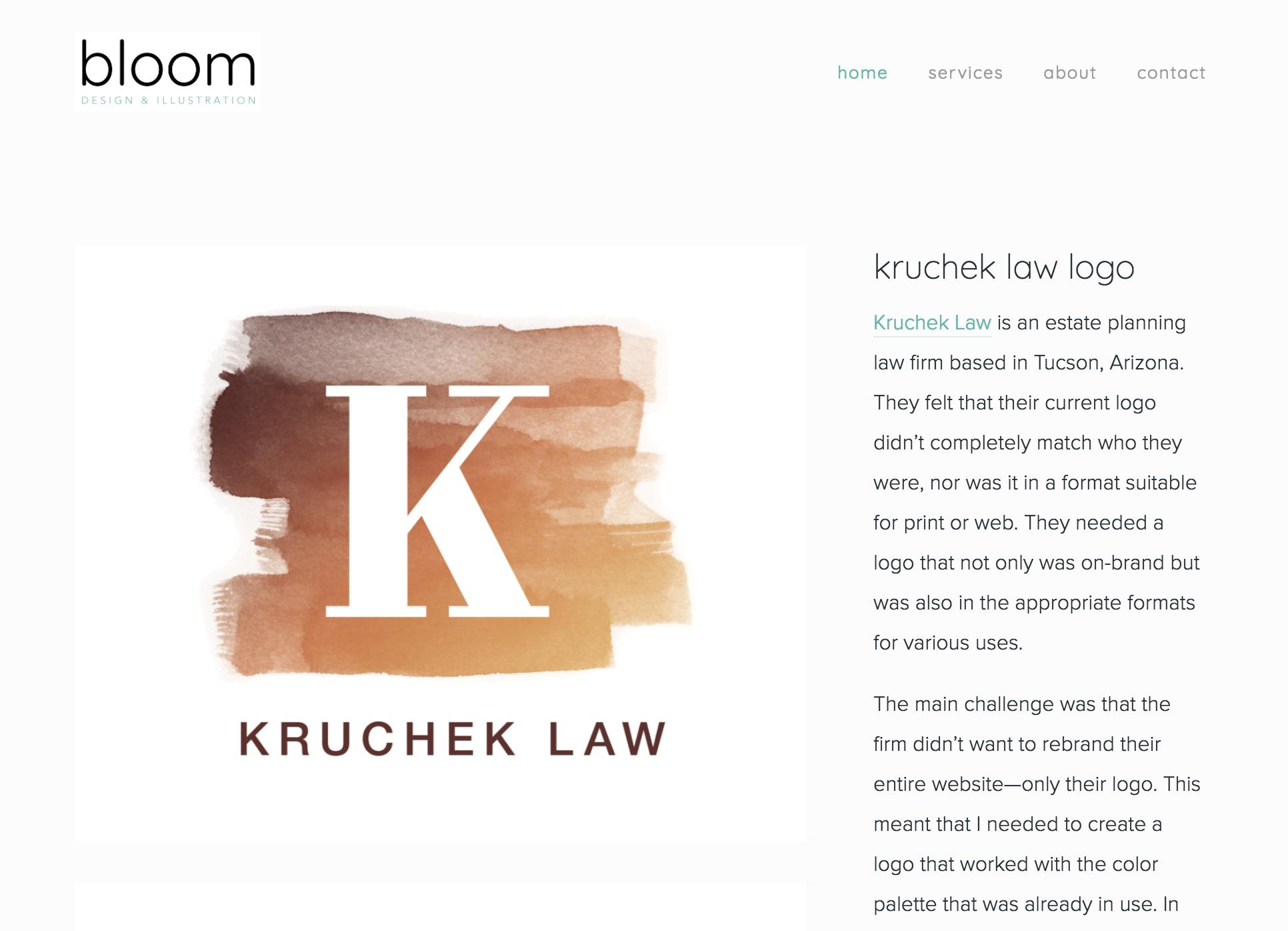 Bloom Design & Illustration portfolio sample - Kruchek Law logo design