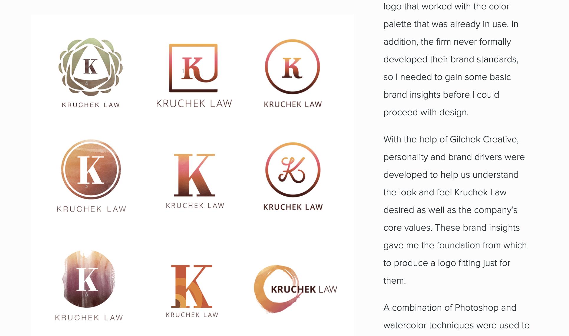 Bloom Design & Illustration portfolio sample - Kruchek Law logo concepting